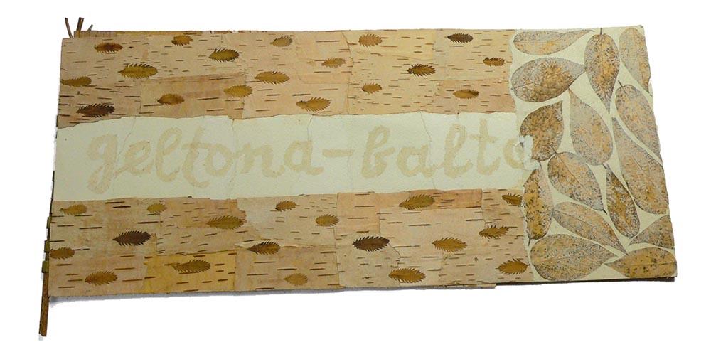 "Roberta Vasiliuniene. ""Yellow-white"" 1994, 26 x 59 cm, unique, paper, dry herbs, birch-bark"