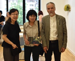 Yuko Wada from Japan, Motoko Tachikawa from Paris in the centre and curator Kestutis Vasiliunas