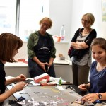 Artist's book workshop for the students. In the centre Roberta and Jurgita