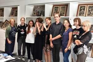 Teachers and some students after the artist's book workshop